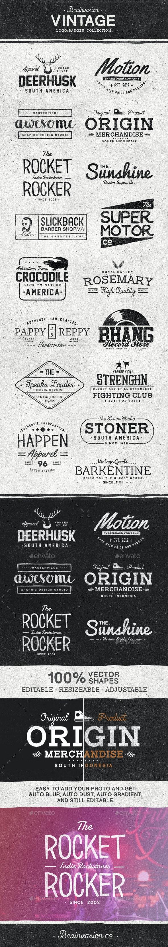 Vintage Logo/Badge Collection - Badges & Stickers Web Elements