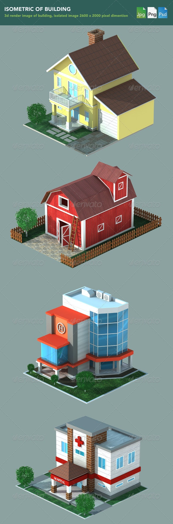 Isometric 3D Render of Building  - Objects Illustrations