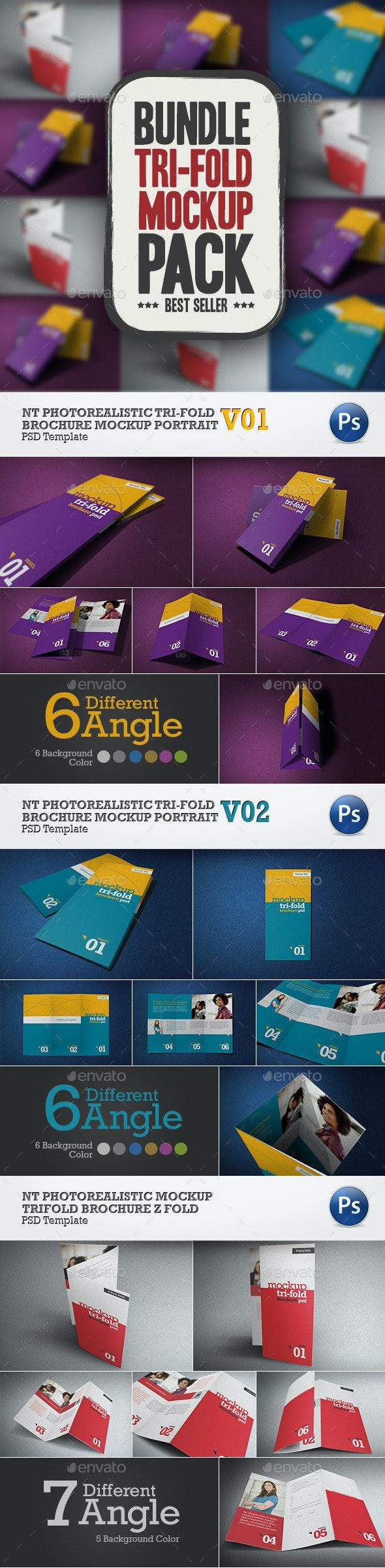 Bundle NT Tri-Fold Mockup  - Print Product Mock-Ups