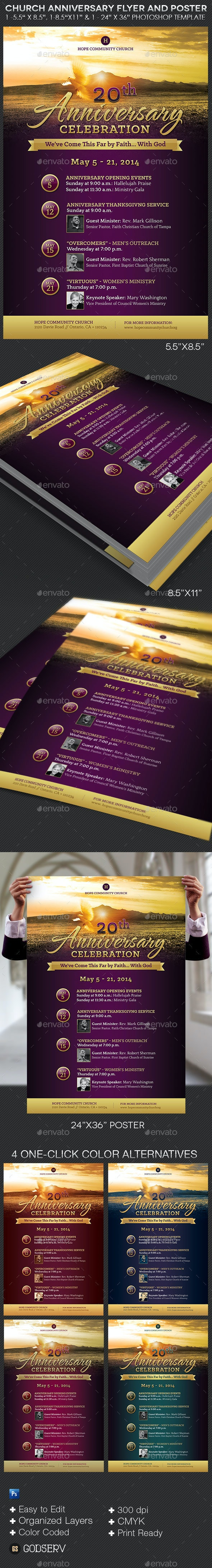 Church Anniversary Flyer Poster Template - Church Flyers