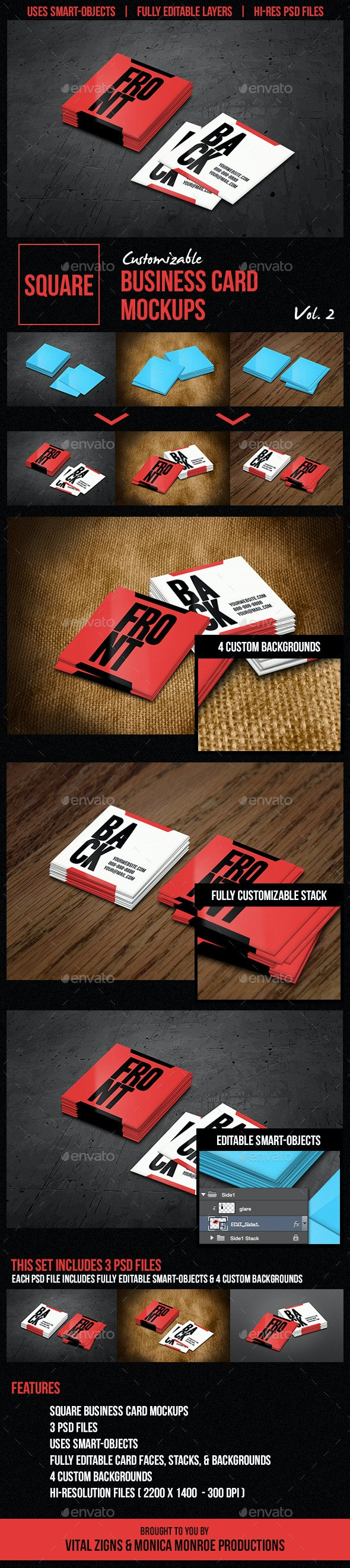 Square Business Card Mockups Vol. 2  - Business Cards Print