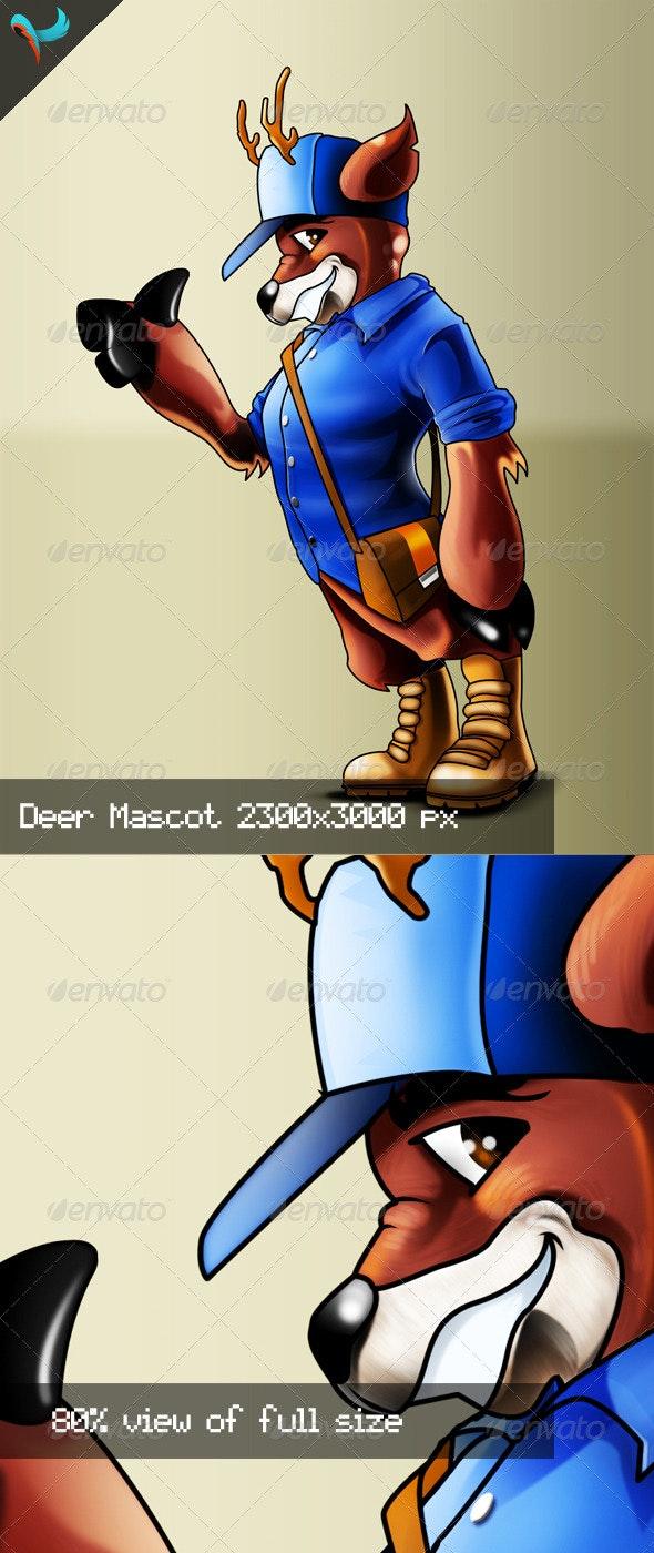 American Trucker Deer PSD Mascot - Characters Illustrations