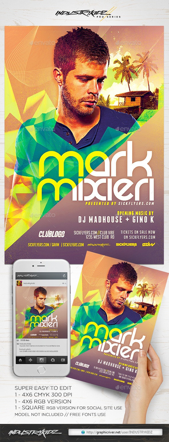 Summer Electro DJ Flyer  - Clubs & Parties Events