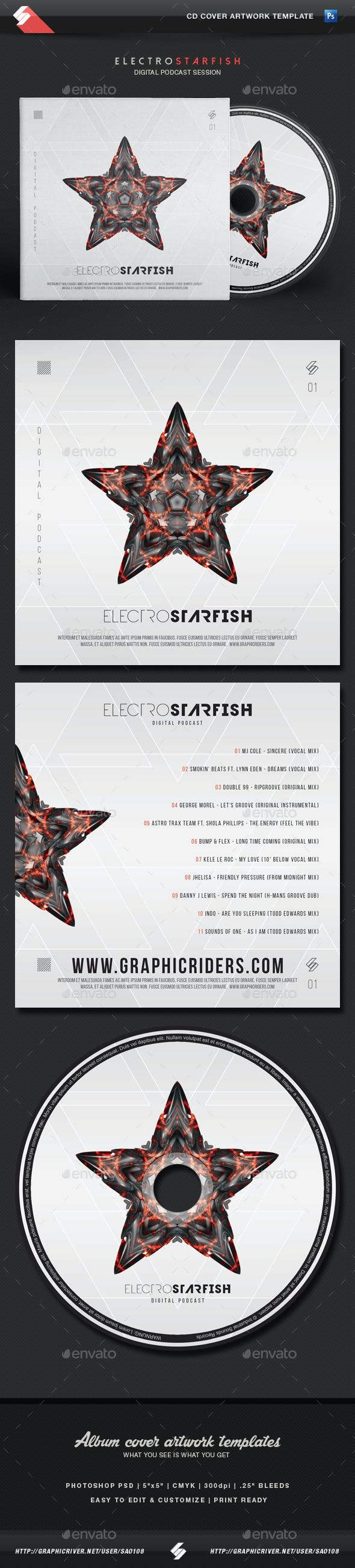 Electro Starfish - CD Cover Artwork Template