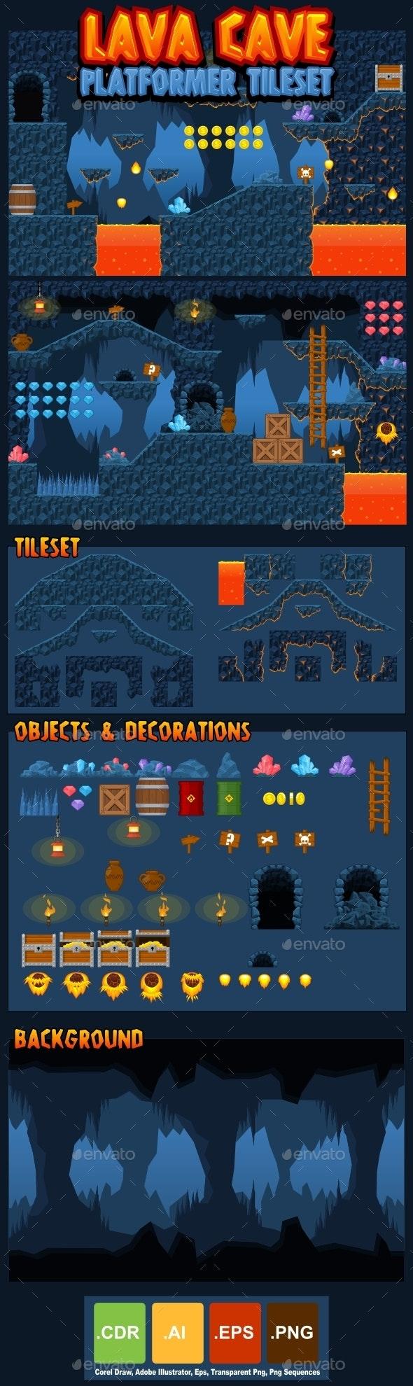 Lava Cave - Platformer Tileset - Tilesets Game Assets