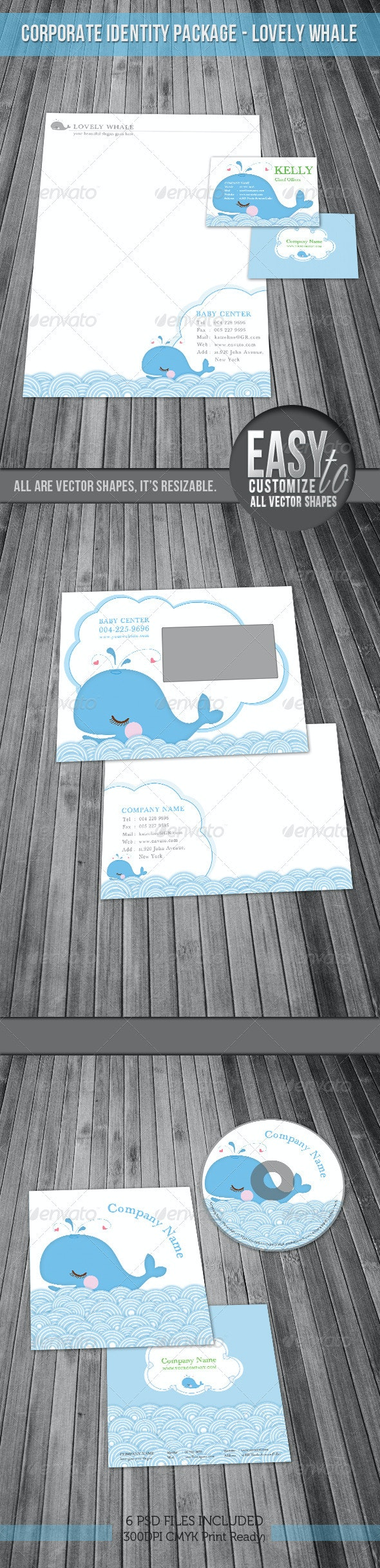 Corporate Identity Package - Lovely Whale - Stationery Print Templates