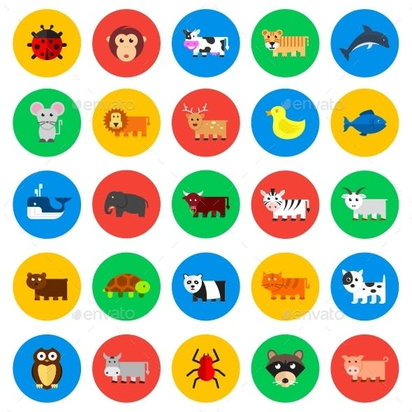 Animals Circle Icons