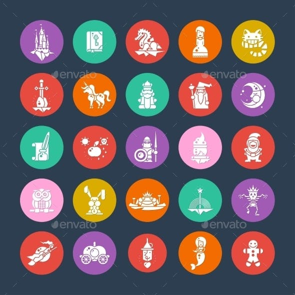 Set of Fairy Tales Flat Design Magic Icons