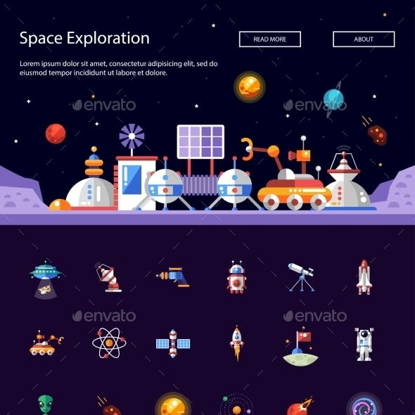 Header with Modern Flat Design Space Icons