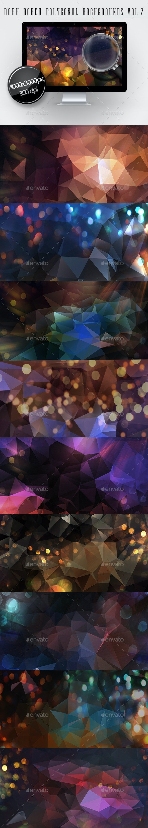 Dark Bokeh Polygonal Backgroundns Vol.2  - Backgrounds Graphics