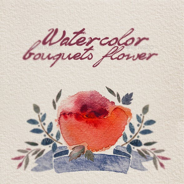Watercolor bouquet flowers