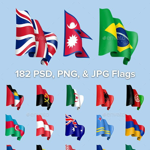 189 Waving Country Flags