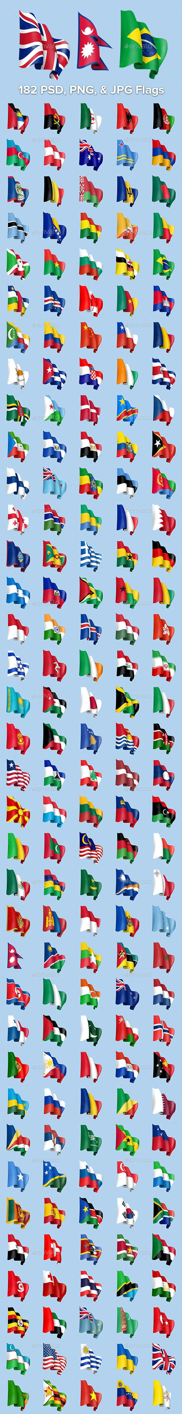 189 Waving Country Flags - Objects Illustrations