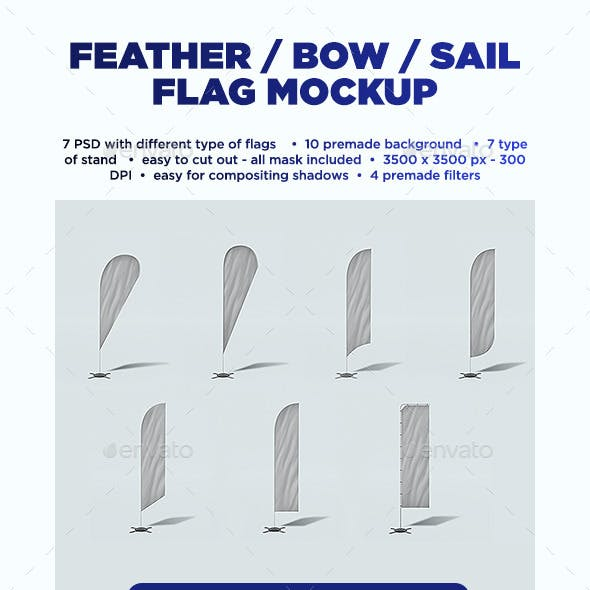 Feather / Bow / Sail Flag Mockup