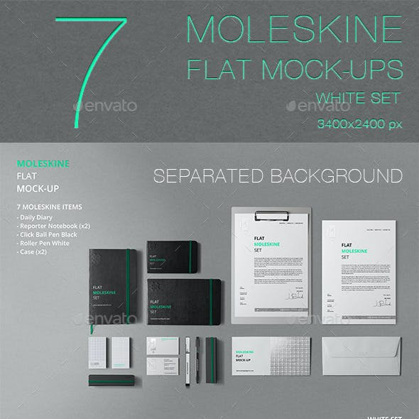 Moleskine Flat Mockup / Stationery / Branding