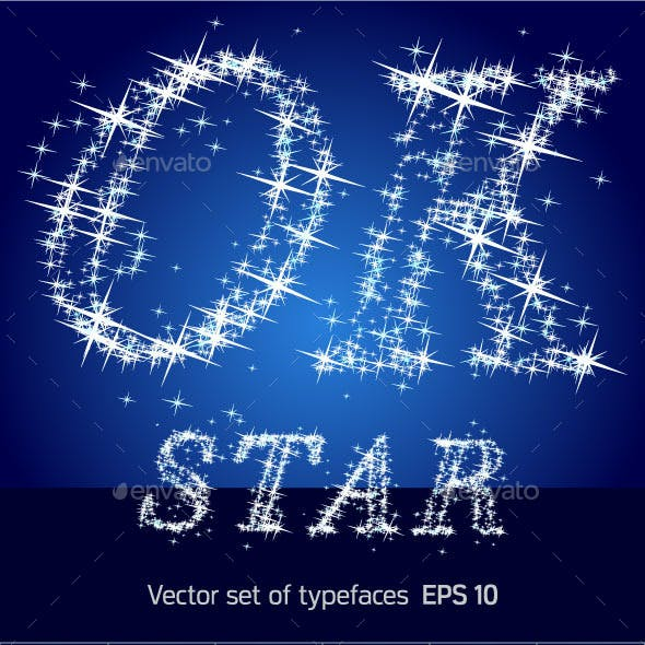Font Characters of Shining Stars