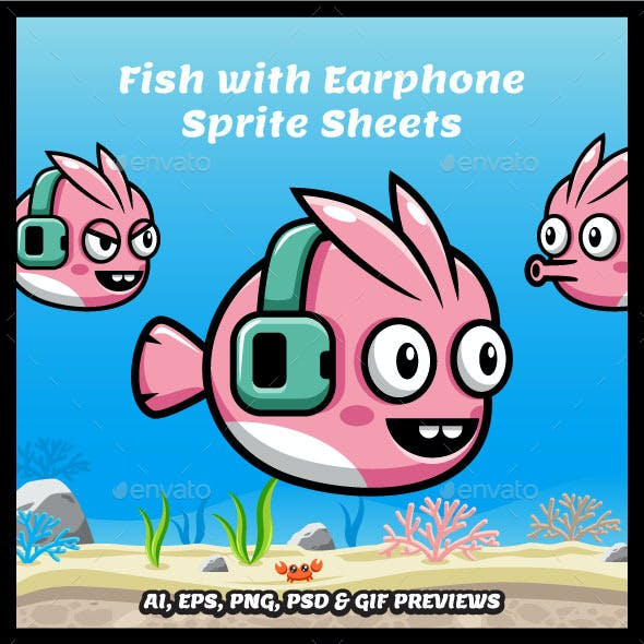Fish with Earphone Game Character Sprite Sheets