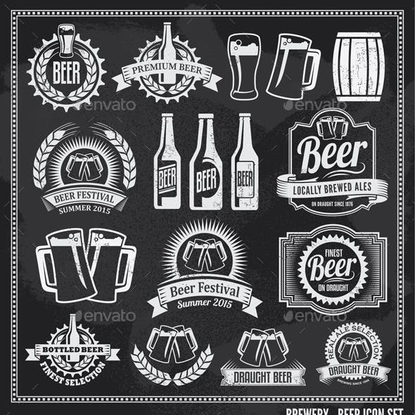 Beer Icon Chalkboard Icon Set