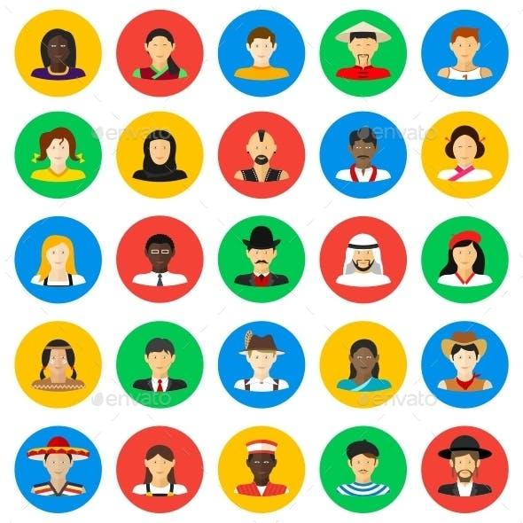 Smiling People Circle Icons