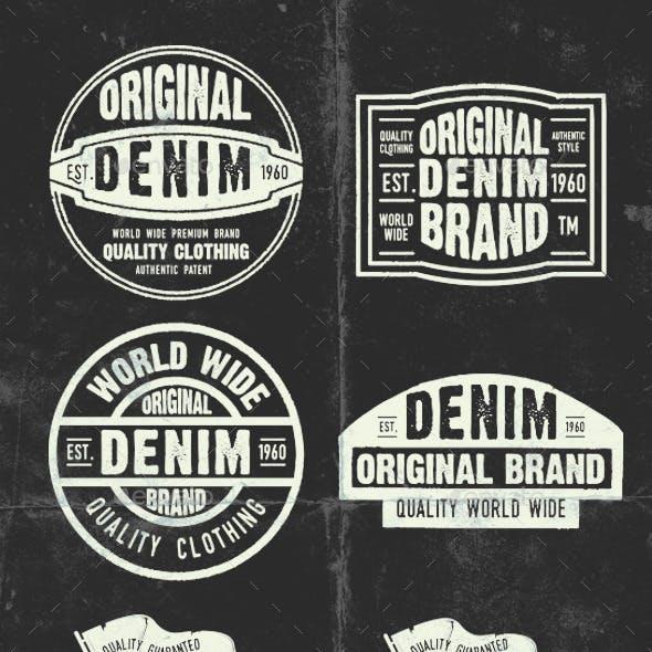 6 Vintage Denim Stickers