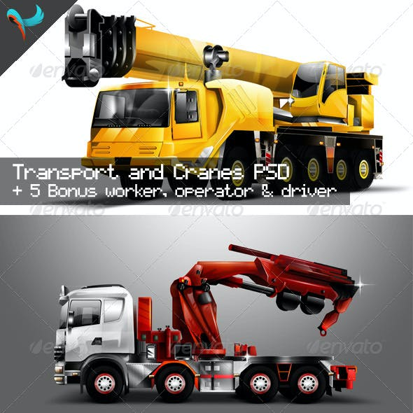Transport Cranes And Vehicles Pack 1