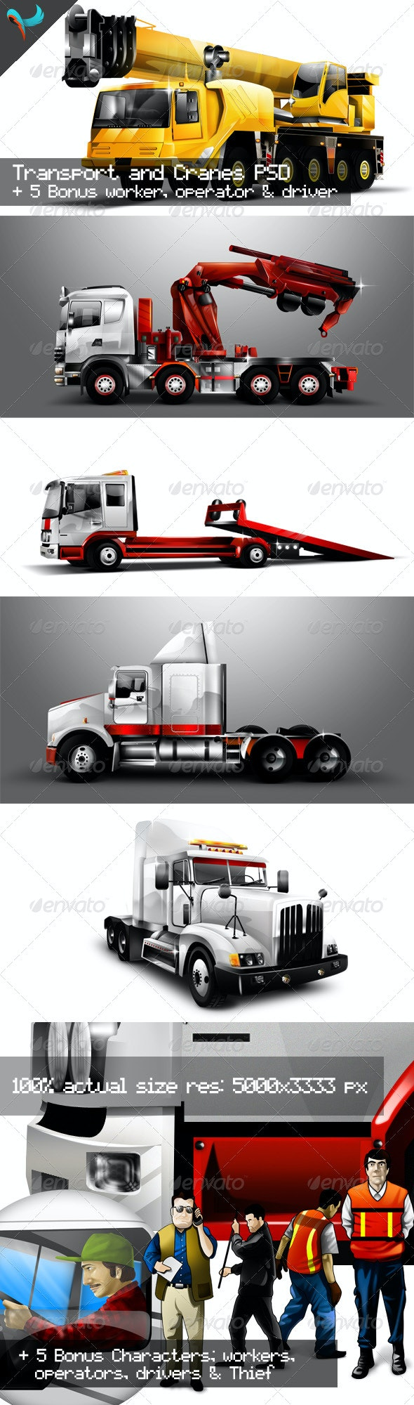 Transport Cranes And Vehicles Pack 1 - Objects Illustrations