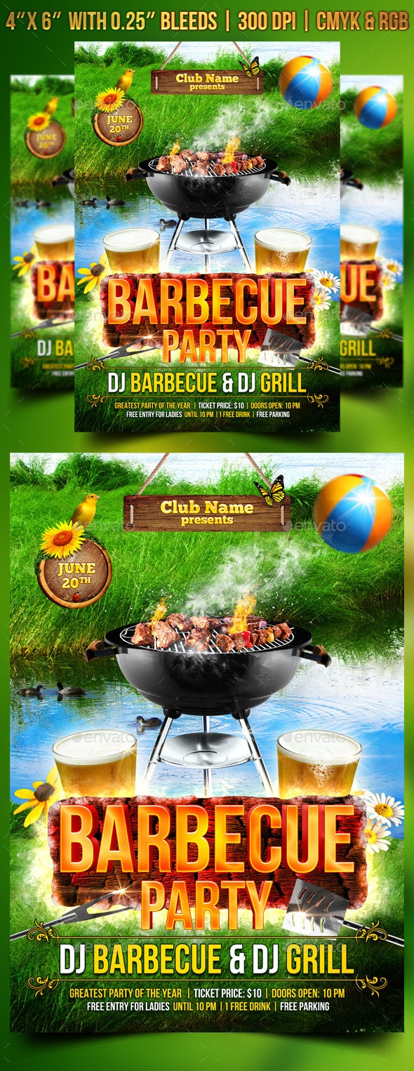 Barbecue Party Flyer Template - Clubs & Parties Events