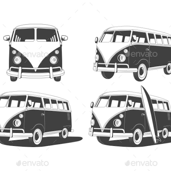 Retro Travel Buses Set