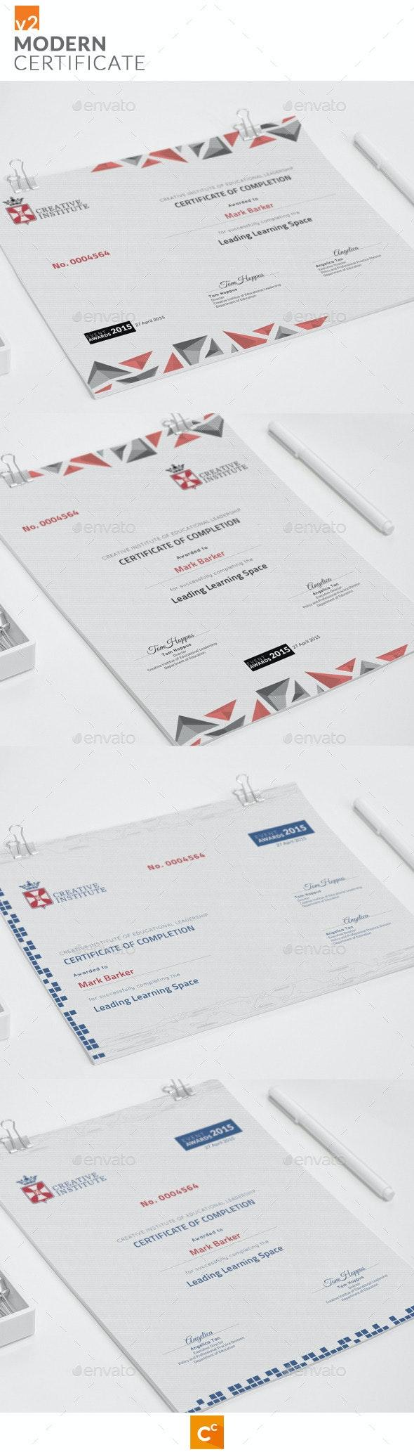 Modern Certificate v2 - Certificates Stationery