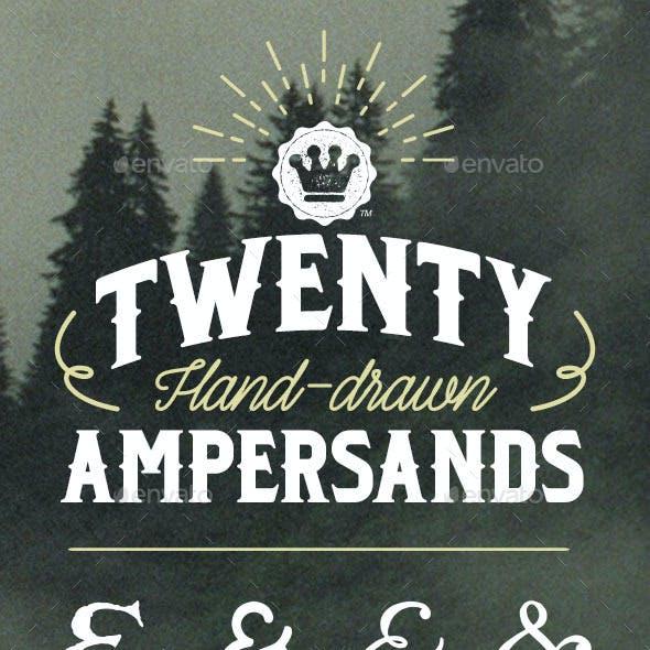 20 Hand-Drawn Ampersands