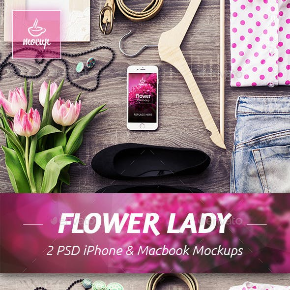 2 PSD Flower Lady Mockups by Mocup