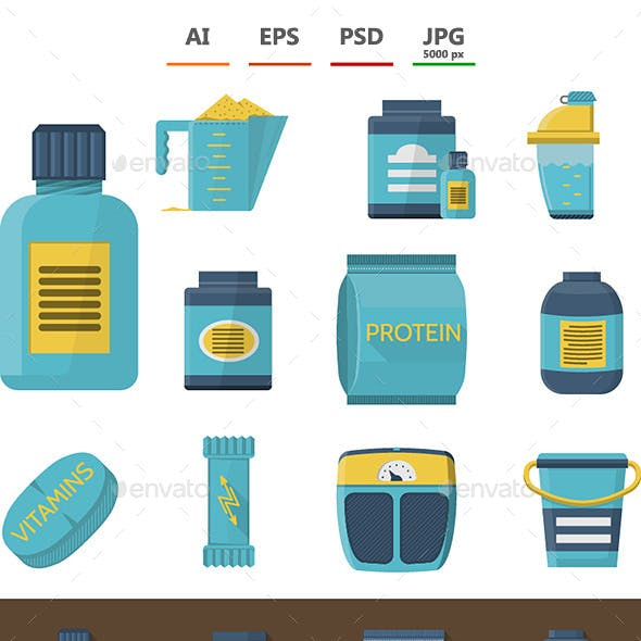 Sport Supplements Icons