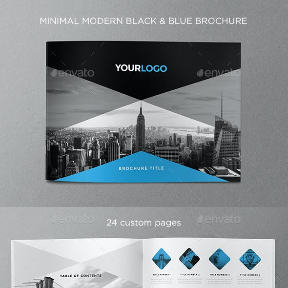 Minimal Modern Black & Blue Brochure