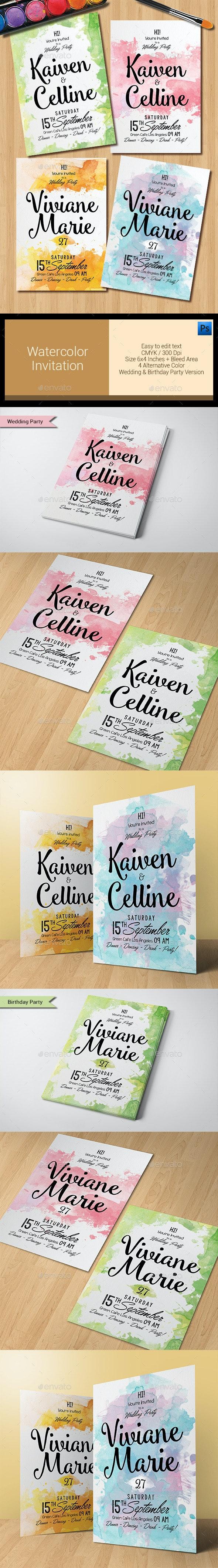 Watercolor Invitation - Weddings Cards & Invites