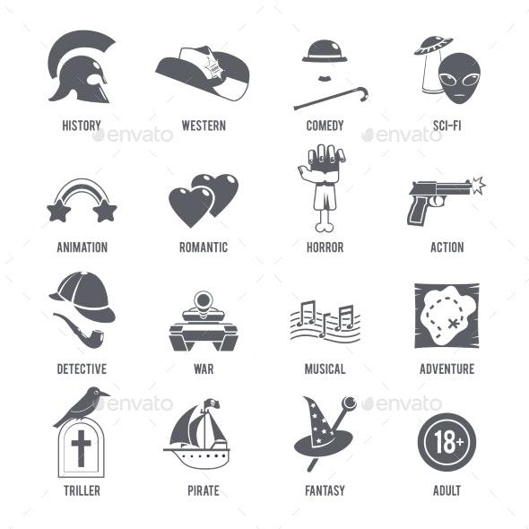 Film Genres Icons Black Set - Miscellaneous Vectors
