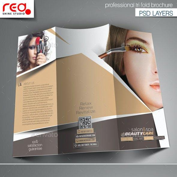 Beauty Salon & Spa Center Tri-Fold Brochure Templa