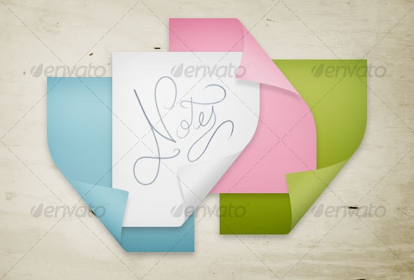 Colored sticky notes with folded corner
