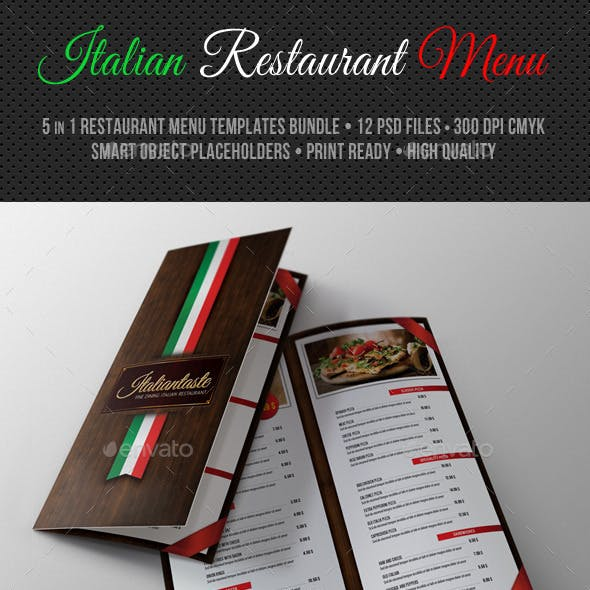 Italian Restaurant Menu Pack