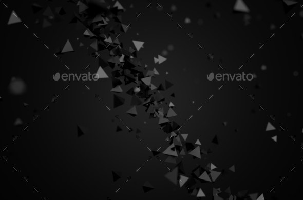 Abstract 3D Rendering Of Flying Pyramids. - 3D Backgrounds