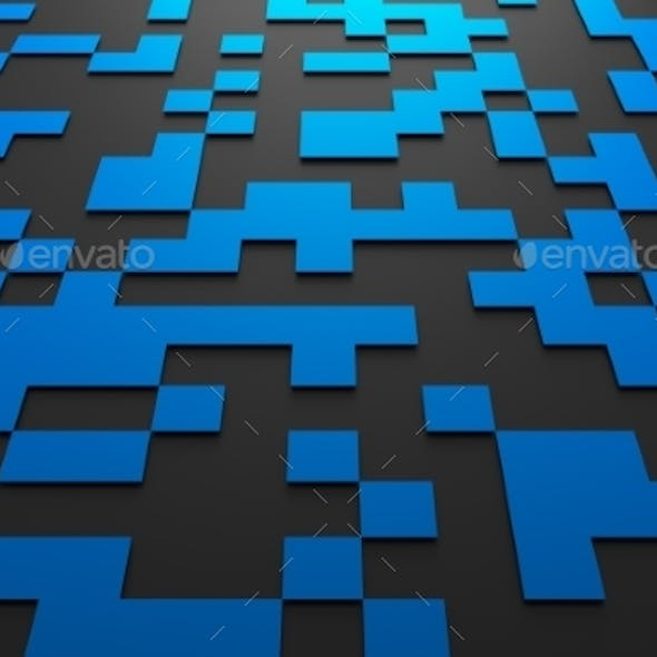 3D Rendering Of Futuristic Surface With Squares.