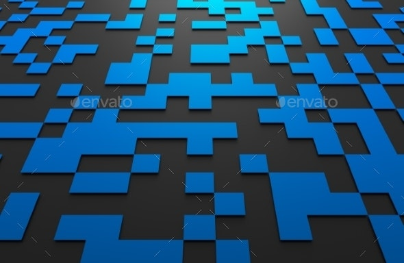 3D Rendering Of Futuristic Surface With Squares. - 3D Backgrounds