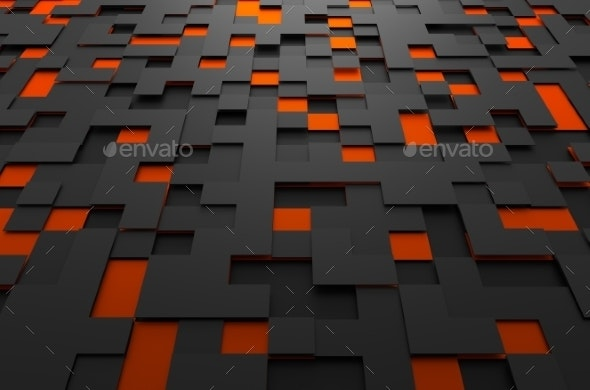Abstract Futuristic Surface With Squares. - 3D Backgrounds