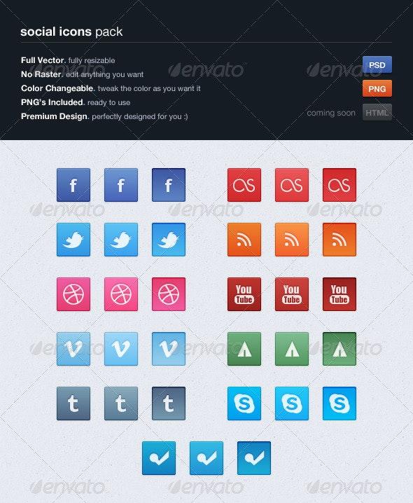 Social Buttons Pack, Vol. 1 - Buttons Web Elements