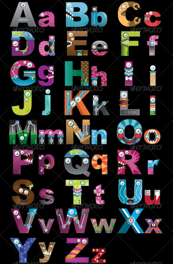 Alphabet Monsters - Characters Vectors