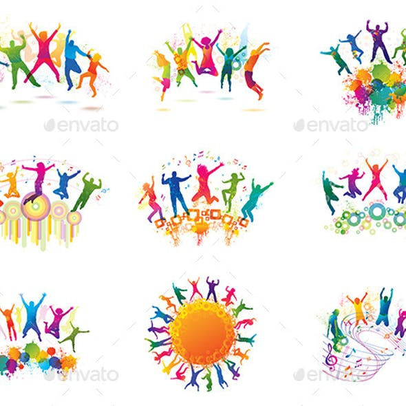 Colorful Backgrounds with Dancing Young People.