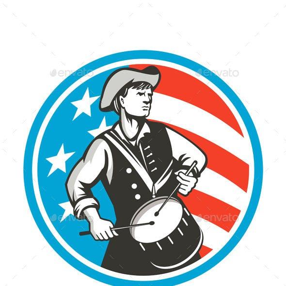 American Patriot Drummer USA Flag Retro Circle