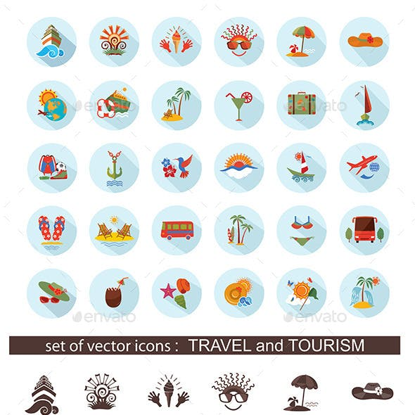 Set of Flat Travel Icons