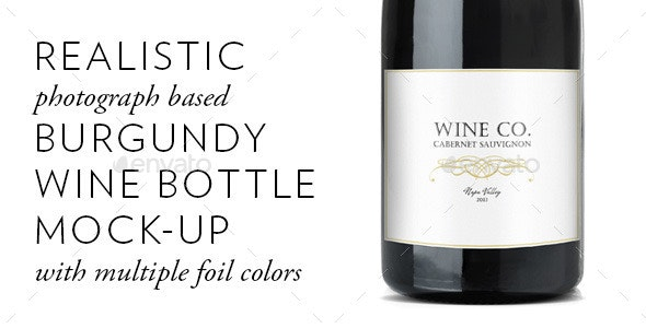 Realistic Burgundy Red Wine Bottle Mock-Up - Food and Drink Packaging