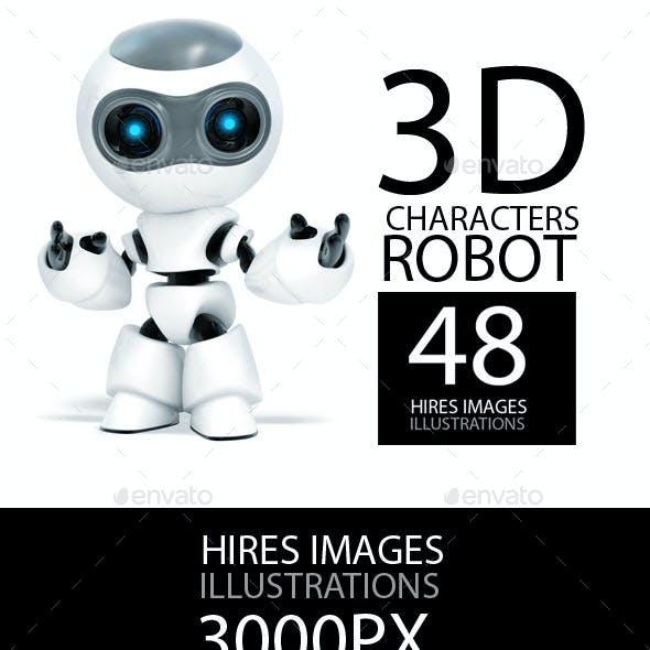 3d Character robots 48 hires images