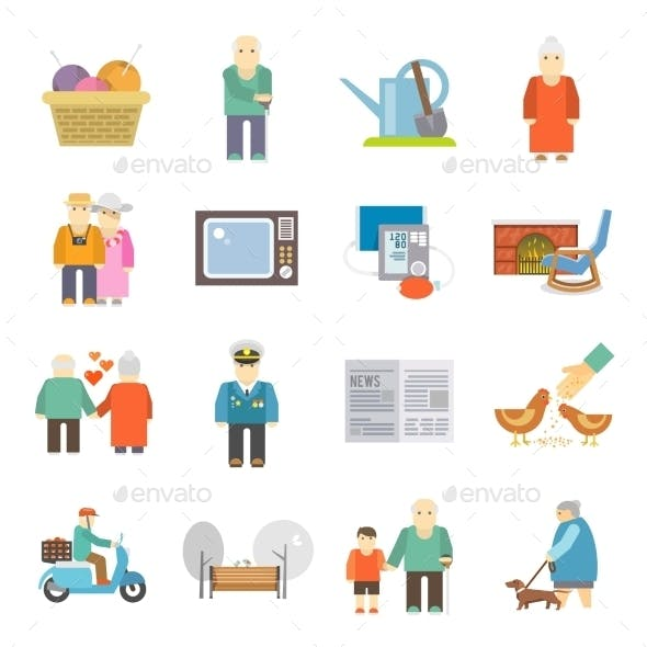 Pensioners Life Flat Icons Set